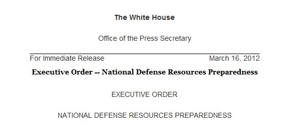 OBAMA EXECUTIVE ORDER March 16 2012