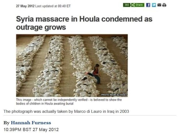 "BBC ""accidentally"" used a picture taken in Iraq in 2003."