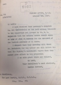 The letter from Britain's Ambassador to France, Lord Francis Bertie, turning down a proposal from Dr. M L Rothstein for a Jewish state in today's Saudi Arabia. Photo: Screenshot / British Library.